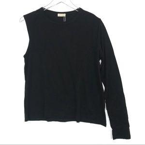 NWT Zara One Sleeve Crew Neck Tee Size L
